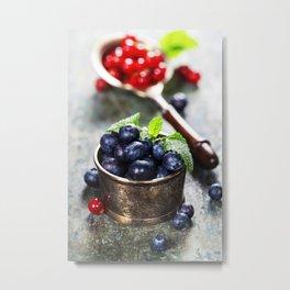 blueberries and red currant berries Metal Print