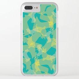 Blue & Yellow Corgi Pattern Clear iPhone Case