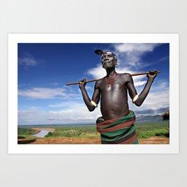 Karo chief, Ethiopia Art Print