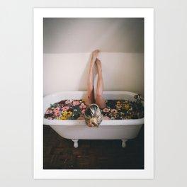 Flower Bathtub Art Print