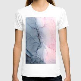 Blush and Payne's Gray Abstract Split T-shirt