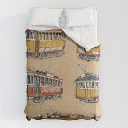 Old vintage yelow trams -nostagic pubic transport Comforters