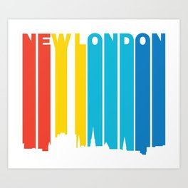Retro 1970's Style New London Connecticut Skyline Art Print