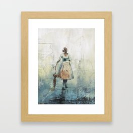 Her Red Umbrella Framed Art Print