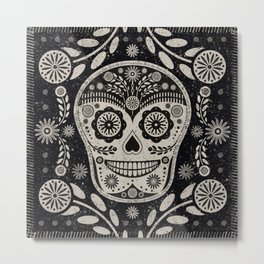 Day of The Dead | Día de los Muertos | Black & Tan Metal Print