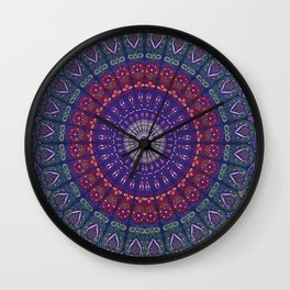 Blue Mandala Hippie Design Wall Clock