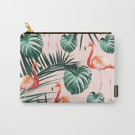 Tropical Flamingo Pattern #2 #tropical #decor #art #society6 Carry-All Pouch
