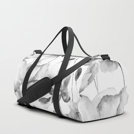 Black and White Watercolor Tulip and Poppy Floral Pattern Duffle Bag