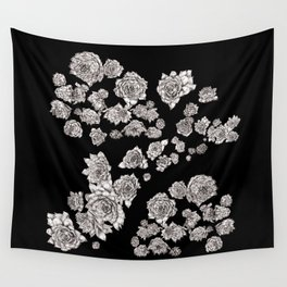 sempervivum on black background Wall Tapestry