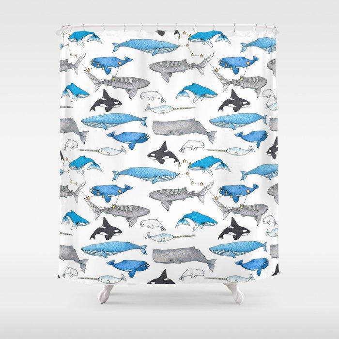 Whale Constellation Shower Curtain