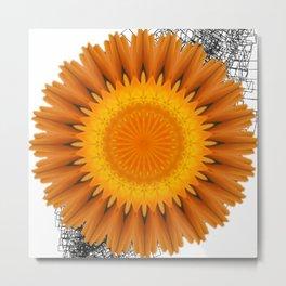 Marigold abstracted to a mandala Metal Print