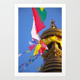 Boudhanath Prayer Flags Art Print