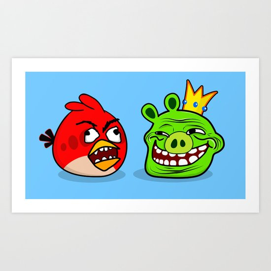 Trollface Pig and Rage Guy Angry Bird Art Print