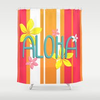 aloha Shower Curtains featuring Aloha by Claire Lordon