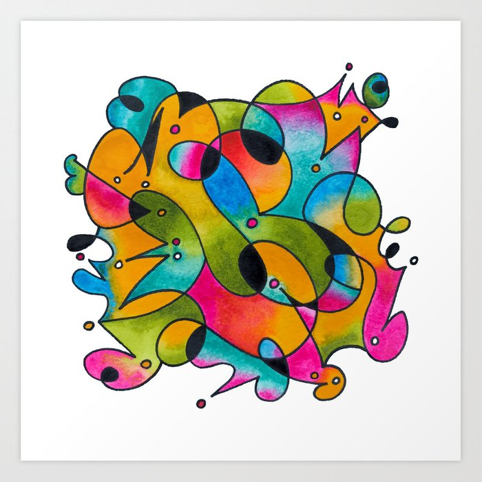 Abstract Gradient Critters Art Print
