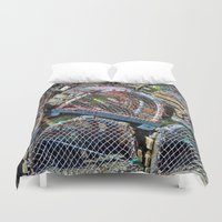 cage Duvet Covers featuring Lobster cage by Claude Gariepy
