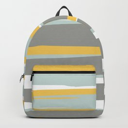 Stripe Abstract, Sun and Beach, Yellow, Pale, Aqua Blue and Gray Backpack