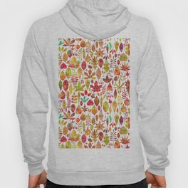 Red gold brown watercolor Autumn leaves pattern Hoody