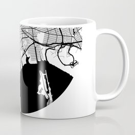 New York Area City Map, New York Circle City Maps Print, New York Black Water City Maps Coffee Mug