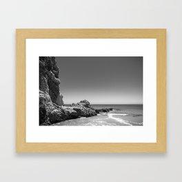 Birds sit on rocks along Rancho Palos Verdes coastline Framed Art Print