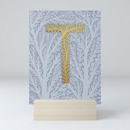 Botanical Metallic Monogram - Letter T Mini Art Print