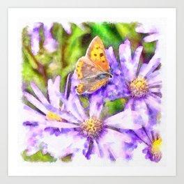 Orange Wings and Purple Petals Art Print