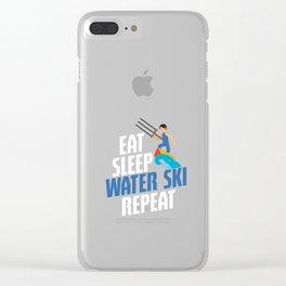 Eat Sleep Water Ski Repeat Water Skiing Skier Clear iPhone Case