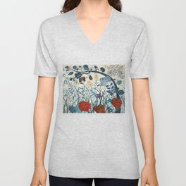 nature【Japanese painting】 Unisex V-Neck