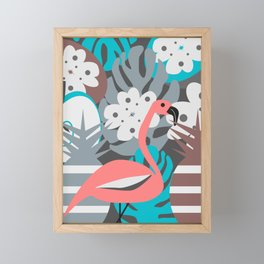 Flamingo, pineapples, flowers Framed Mini Art Print