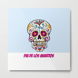 Skull Dia de los Muertos Metal Print