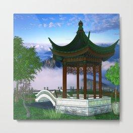 Pagoda Fantasy Scene Metal Print