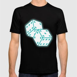Two game dices neon light design T-shirt