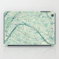 paris map iPad Cases featuring Paris Map Blue Vintage by City Art Posters