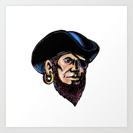 Buccaneer Eye Patch Scratchboard Art Print