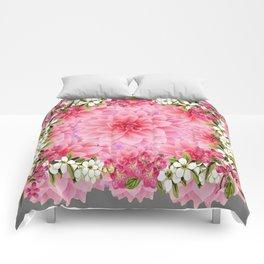 SPRING PINK GARDEN DESIGN GREY ART PATTERNS Comforters