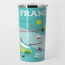 San Francisco, California - Collage Illustration by Loose Petals Travel Mug