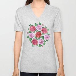 Camellia and Peonia pattern Unisex V-Neck