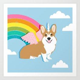 Corgicorn - cute pastel corgi unicorn pegasus rainbow cute kawaii unicorn corgi Art Print