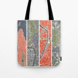 Six cities: NYC London Paris Berlin Rome Seville Tote Bag