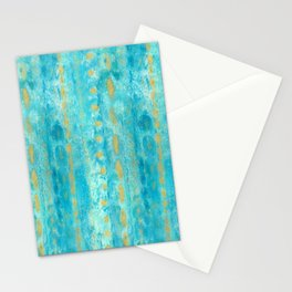 Gold in Deep Turquoise watercolor art Stationery Cards
