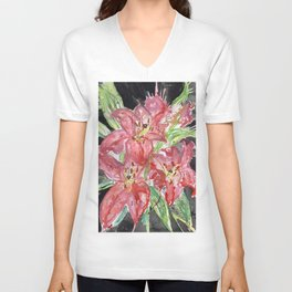 Pink Lilies Unisex V-Neck