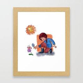 girl and the sun Framed Art Print