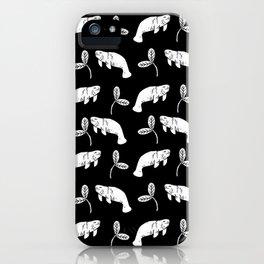 Manatee linocut black and white minimal pattern nature art manatees iPhone Case