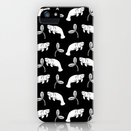 Manatee linocut black and white minimal pattern nature art manatees iPhone Case