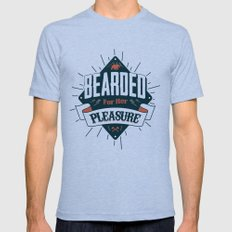 BEARDED FOR HER PLEASURE Tri-Blue Mens Fitted Tee LARGE