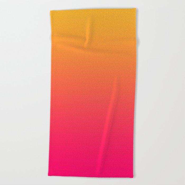 Hot Pink / Golden Heart Gradient Colors Beach Towel