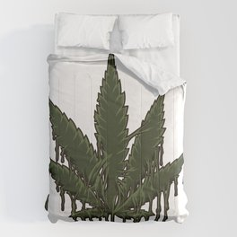 Melting Cannabis Leaf | Marijuana THC CBD Stoner Comforters
