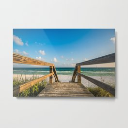Head to the Beach - Boardwalk Leads to Summer Fun in Florida Metal Print
