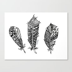 Feathers Black and White 3 feathers Bird birds Zen Canvas Print