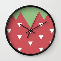 strawberry Wall Clocks featuring Strawberry by According to Panda